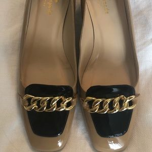 Kate Spade Black & Tan Heels with gold buckle
